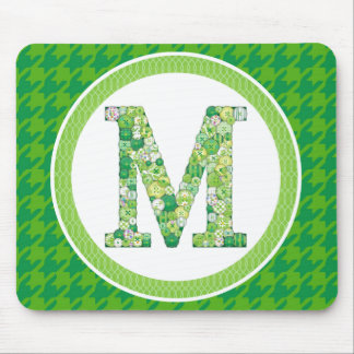 Green Button Letter M Mouse Pad