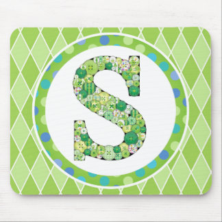 Green Button Letter S Mouse Pad