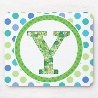 Green Button Letter Y Mouse Pad