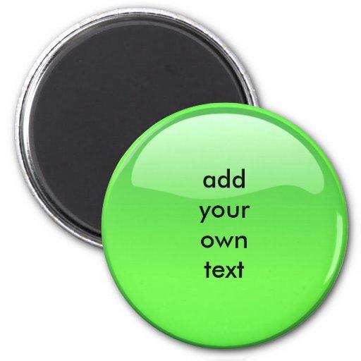 green button refrigerator magnet