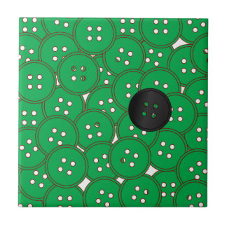 Green Buttons Ceramic Tile