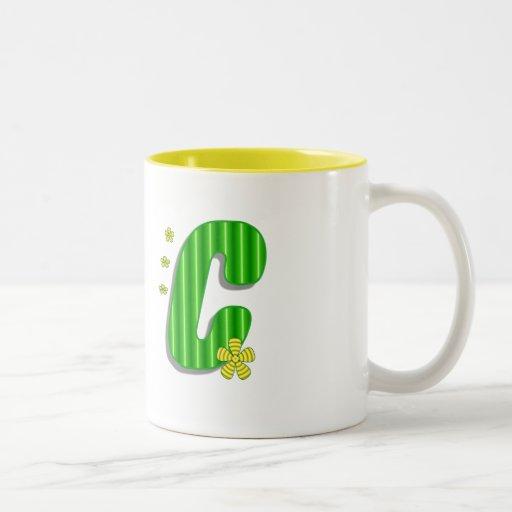 green C monogram Mug