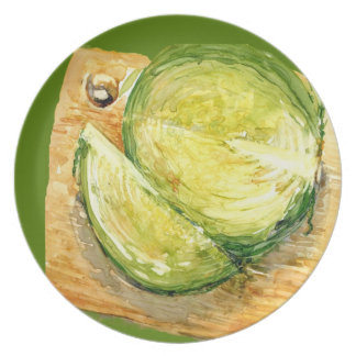 Green Cabbage on Cutting Board Plate