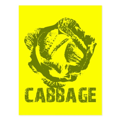 Green Cabbage Pop Art Postcard