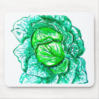 Green Cabbage Watercolor 2 Mouse Pad