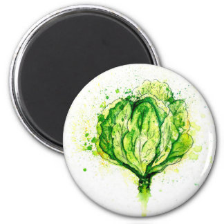 Green Cabbage Watercolor Magnet