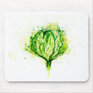 Green Cabbage Watercolor Mouse Pad