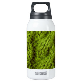 Green cable knitting 10 oz insulated SIGG thermos water bottle