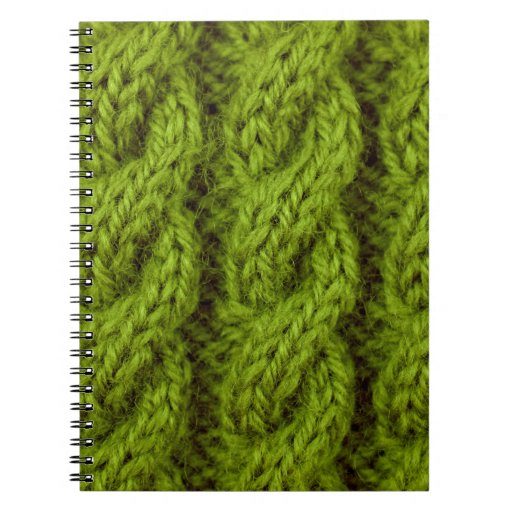Green cable knitting notebooks