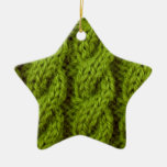 Green cable knitting ornament