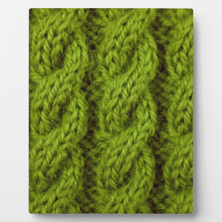 Green cable knitting display plaques