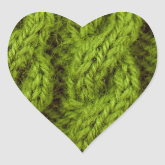 Green cable knitting heart stickers