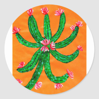 Green Cactus 2 Classic Round Sticker