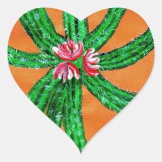 Green Cactus 2 Heart Sticker