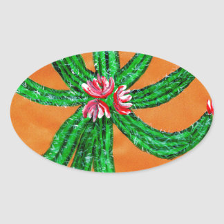 Green Cactus 2 Oval Sticker