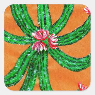Green Cactus 2 Square Sticker