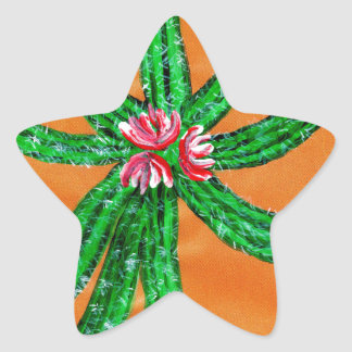 Green Cactus 2 Star Sticker