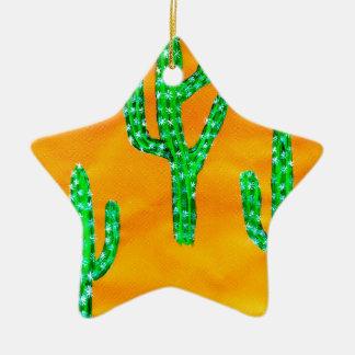 Green Cactus 3 Ceramic Ornament