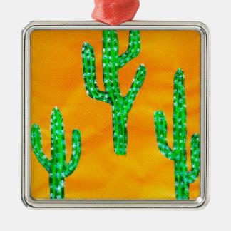 Green Cactus 3 Metal Ornament