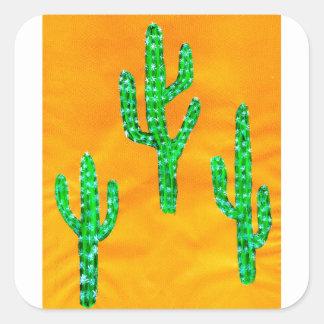 Green Cactus 3 Square Sticker
