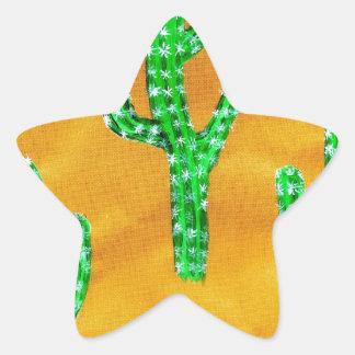 Green Cactus 3 Star Sticker