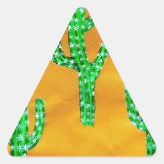Green Cactus 3 Triangle Sticker