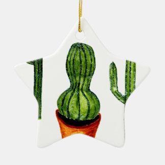 Green Cactus 4 Ceramic Ornament