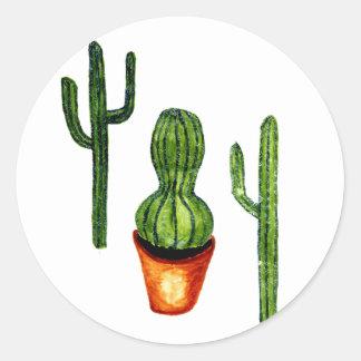 Green Cactus 4 Classic Round Sticker
