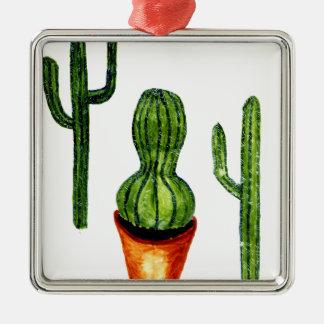 Green Cactus 4 Metal Ornament