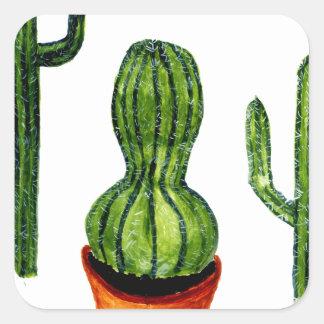 Green Cactus 4 Square Sticker