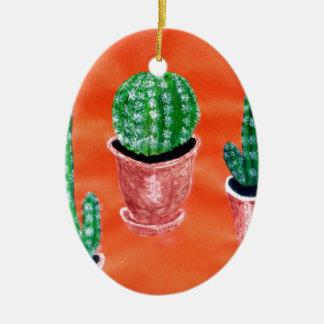Green Cactus Ceramic Ornament