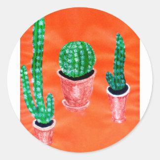 Green Cactus Classic Round Sticker