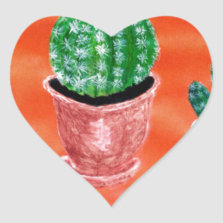 Green Cactus Heart Sticker