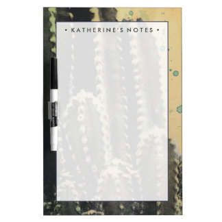 Green Cactus on Yellow Background Dry-Erase Board