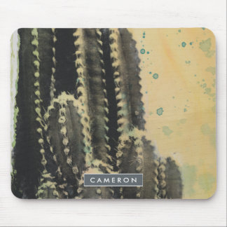 Green Cactus on Yellow Background Mouse Pad