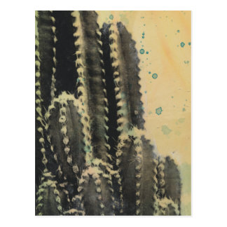 Green Cactus on Yellow Background Postcard