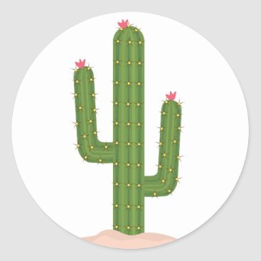 Professional Business Green Cactus Pink Flower Stickers