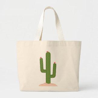 Green Cactus Pink Flower Succulent Southwestern Large Tote Bag