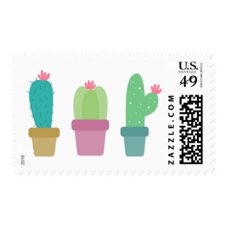 Green Cactus Pink Flower Succulent Southwestern Postage