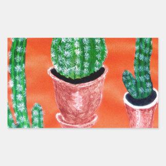 Green Cactus Rectangular Sticker
