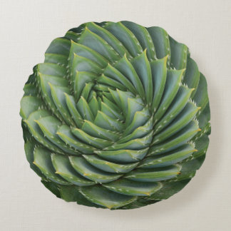 Green Cactus Spring Flower Round Pillow