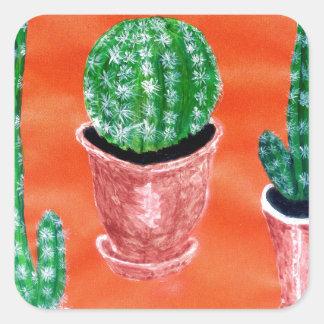Green Cactus Square Sticker