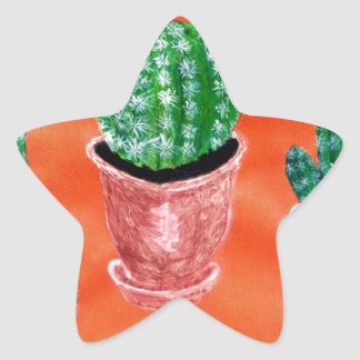 Green Cactus Star Sticker