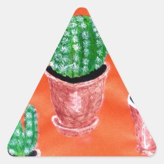 Green Cactus Triangle Sticker