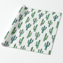 Green cactus watercolor Botanical pattern Modern Wrapping Paper
