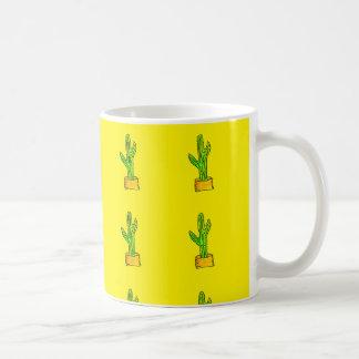 Green Cactus Yellow Background Pattern Classic White Coffee Mug