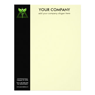 Green Caduceus Alternative Medicine Black Cream Letterhead