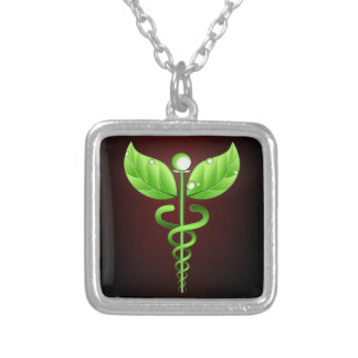 Green Caduceus Alternative Medicine Dark Red Square Pendant Necklace