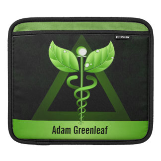 Green Caduceus Alternative Medicine Horizontal iPad Sleeve
