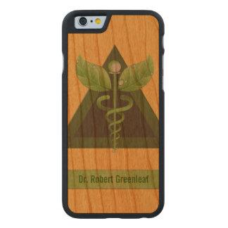 Green Caduceus Alternative Medicine Icon Carved Cherry iPhone 6 Slim Case
